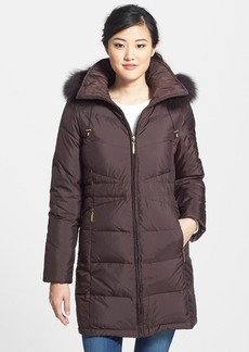 Ellen Tracy Genuine Fox Fur Trim Down Parka (Regular & Petite)