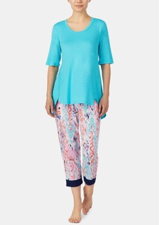 Ellen Tracy High-Low Top and Printed Cropped Pants Pajama Set