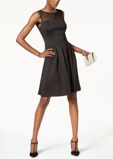 Ellen Tracy Illusion-Mesh Fit & Flare Dress