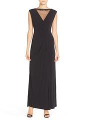 Ellen Tracy Illusion Neck Jersey Gown