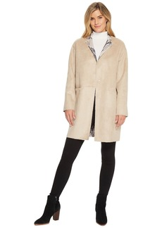Ellen Tracy Inverted Reverse Printed Fur Coat