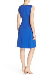 Ellen Tracy Keyhole Front Scuba Fit & Flare Dress (Regular & Petite)