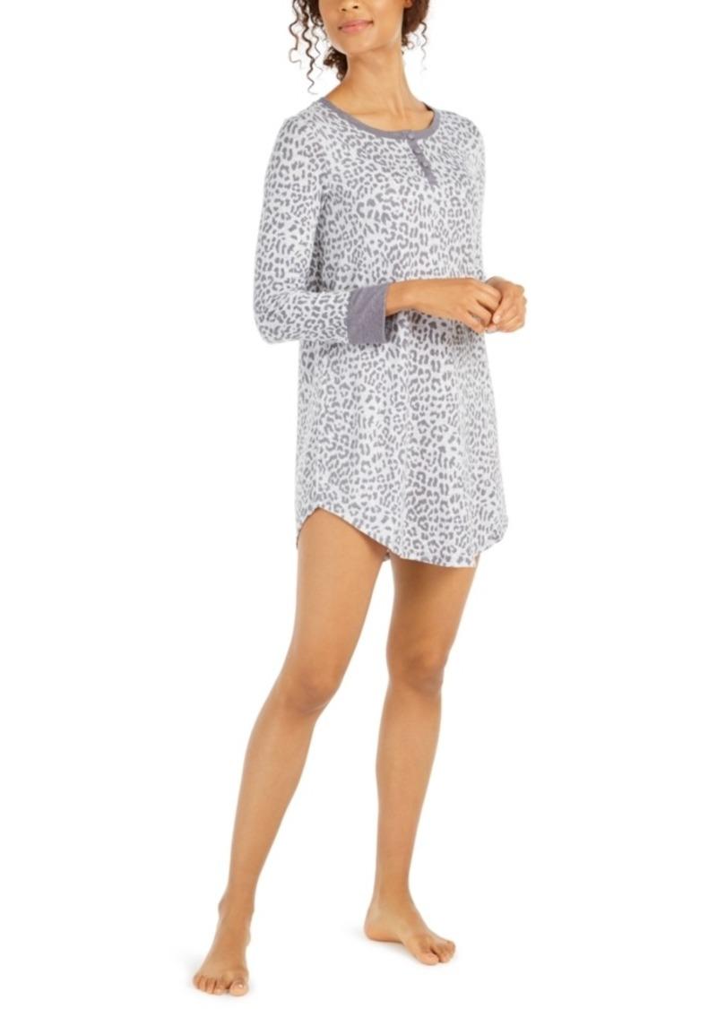 Ellen Tracy Knit Animal-Print Sleepshirt Nightgown