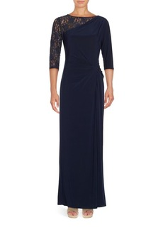 Ellen Tracy Lace-Accented Gown