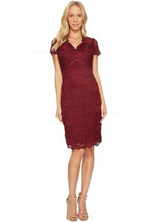 Ellen Tracy Lace Dress with Short Sleeves and V-Neck