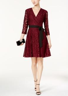 Ellen Tracy Lace Faux-Wrap Dress