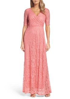 Ellen Tracy Lace Faux Wrap Gown