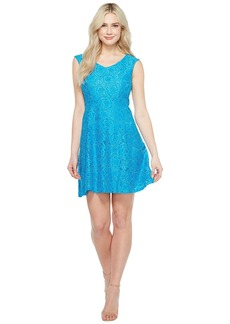 Ellen Tracy Lace Fit & Flare Dress with V-Neck