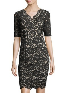 Ellen Tracy VNECK LACE DRESS WITH ELBOW