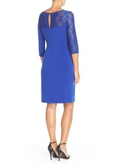 Ellen Tracy Lace Sleeve Jersey Sheath Dress