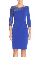 Ellen Tracy Lace Sleeve Jersey Sheath Dress