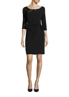 Ellen Tracy Lace Sleeve Ruched Waist Dress