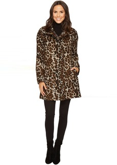 Ellen Tracy Leopard Print Asymmetrical Coat
