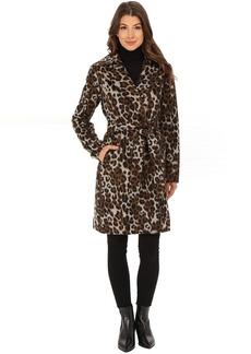 Ellen Tracy Leopard Printed Wool Belted Wrap