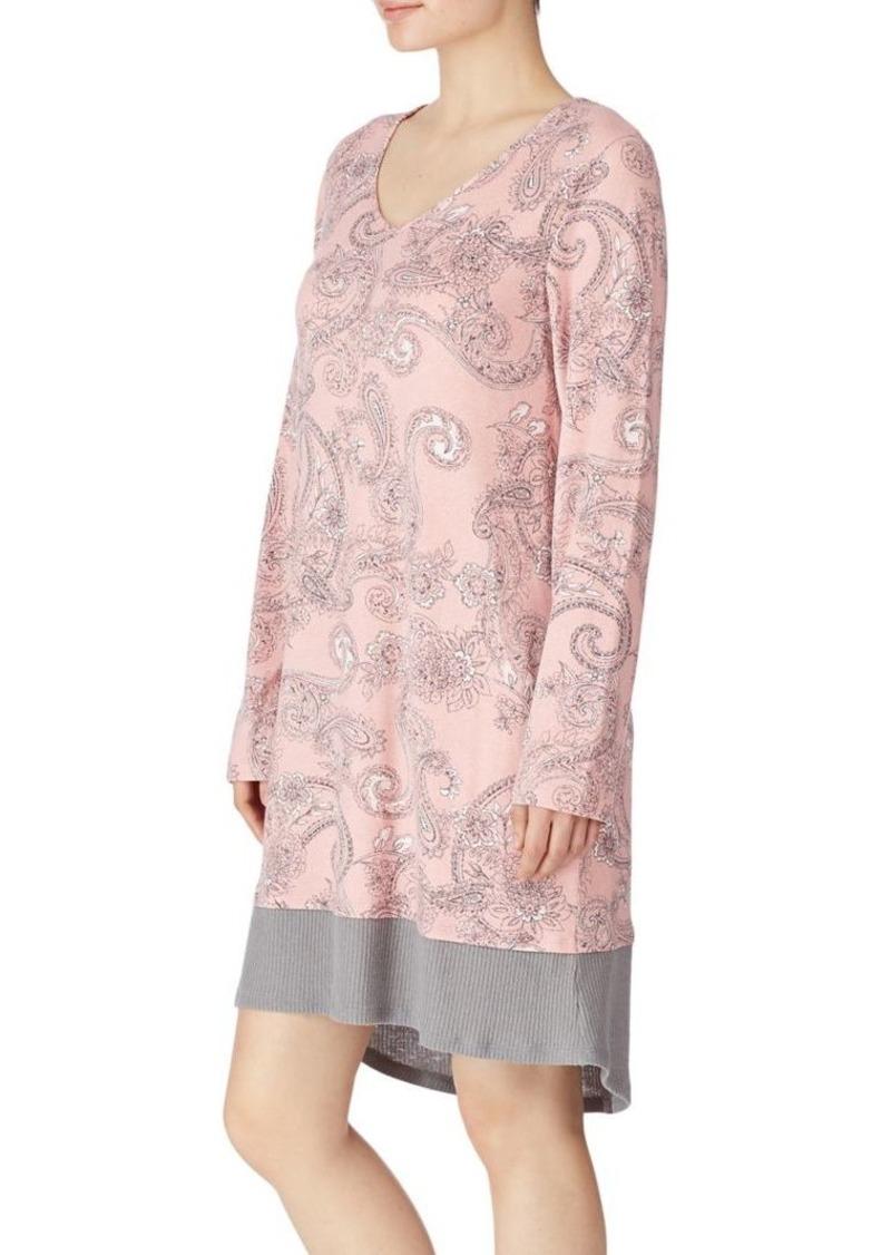 Ellen Tracy Long Sleeve Printed Sleepshirt