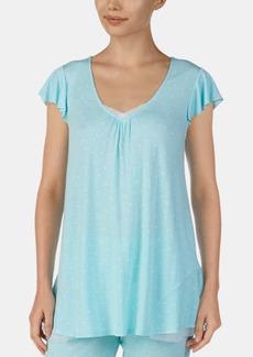 Ellen Tracy Mesh-Trim Flounce-Back Printed Pajama Top