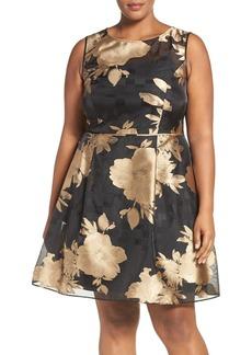 Ellen Tracy Metallic Floral Fit & Flare Dress (Plus Size)