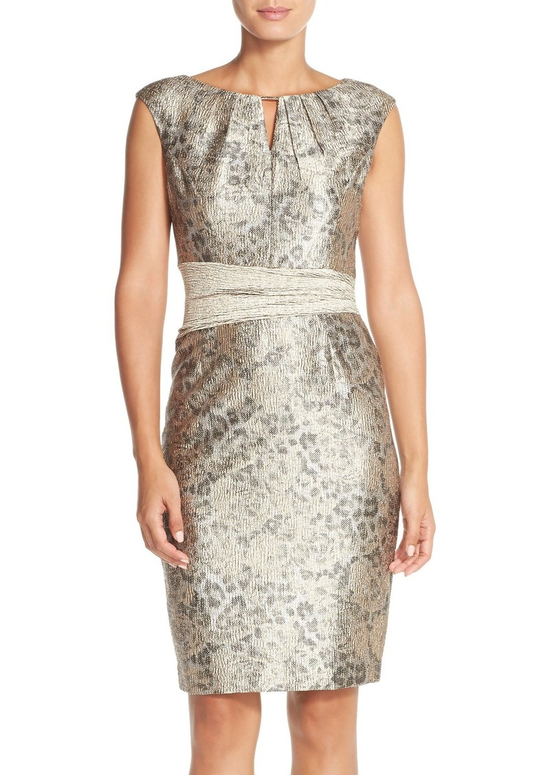 Ellen Tracy Metallic Jacquard Sheath Dress (Regular & Petite)