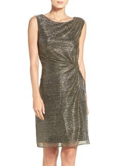 Ellen Tracy Metallic Knit Sheath Dress