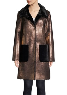 Ellen Tracy Metallic Sherpa Coat
