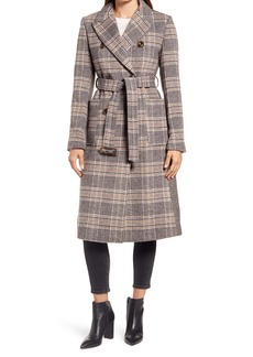 Ellen Tracy Mix Plaid Belted Wool Blend Coat