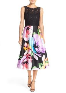 Ellen Tracy Mixed Media Fit & Flare Midi Dress
