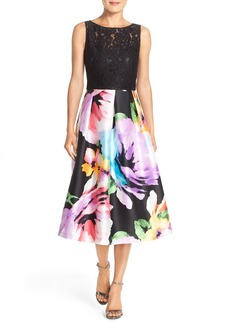 Ellen Tracy Mixed Media Fit & Flare Midi Dress