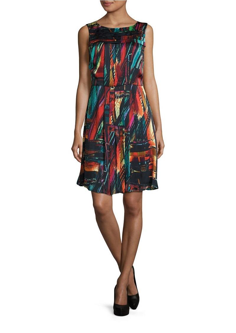ELLEN TRACY Multicolor Printed A-Line Dress
