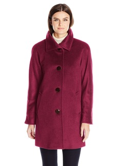ELLEN TRACY Outerwear Women's Angora Blend Kimono Rabbit Fur Wool Coat