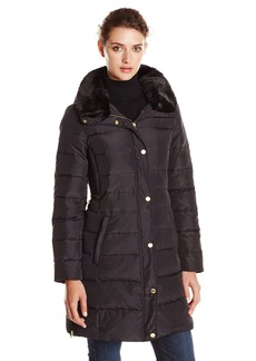 Ellen Tracy Outerwear Women's Belted Down Coat with Faux Fur Collar and Hood