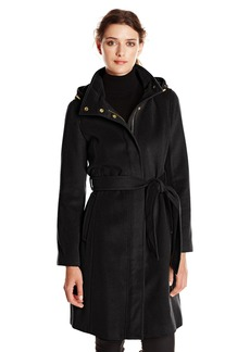 Ellen Tracy Outerwear Women's Belted Wool Coat with Hood