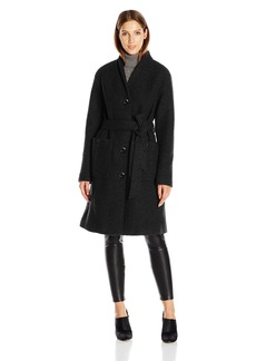 Ellen Tracy Outerwear Women's Boiled Wool Button Front Robe Coat