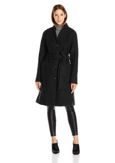 ELLEN TRACY Outerwear Women's Boiled Wool Button Front Robe Coat