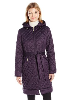 ELLEN TRACY Outerwear Women's Diamond Quilted Matte Satin Down Coat