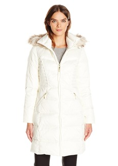 ELLEN TRACY Outerwear Women's Down Coat with Waist Detail and Faux Fur Hood