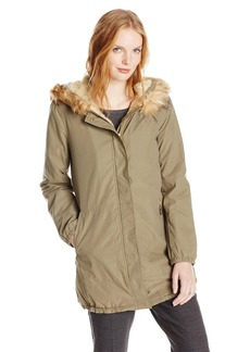 Ellen Tracy Outerwear Women's Microfiber Parka with Faux Fur Hood