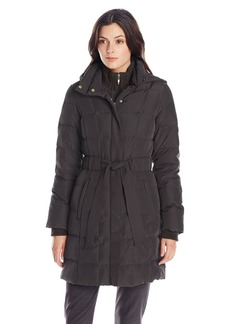 Ellen Tracy Outerwear Women's Mid Length Hooded Down Coat with Cable Knit Trim