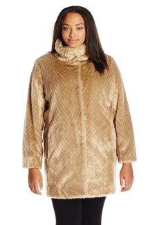 Ellen Tracy Outerwear Women's Plus Size Faux Mink Coat