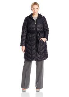 Ellen Tracy Outerwear Women's Plus-Size Mid Length Chevron Packable Down Coat