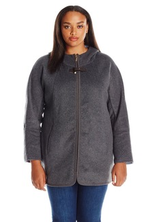 ELLEN TRACY Outerwear Women's Zip up Hooded Wool Double Face A-Line Coat Plus Size