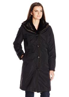 ELLEN TRACY Outerwear Women's Reversible Faux Mink Storm Coat