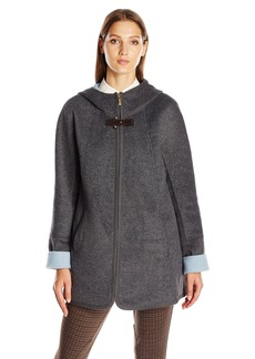 Ellen Tracy Outerwear Women's Zip up Hooded Wool Double Face a-Line Coat