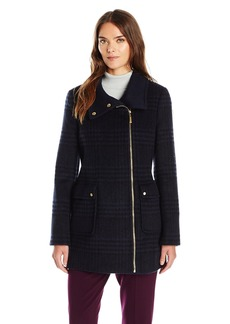 Ellen Tracy Outerwear Women's Zip up Plaid/Herringbone Wool Coat