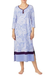 Ellen Tracy Paisley Vented Keyhole Nightgown