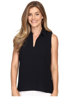Ellen Tracy Peplum Back Collared Split-Neck Shell