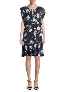 Ellen Tracy Flouncy-Sleeve Floral Shift Dress