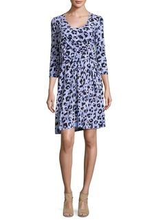 Ellen Tracy Leopard-Print Blouson Dress