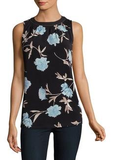 Ellen Tracy Petite Shirred Floral Blouse