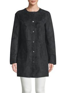 Ellen Tracy Petite Snap Suede Jacket