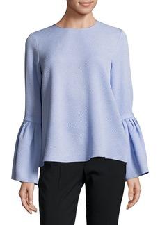 Ellen Tracy Petite Textured Bell-Sleeve Blouse
